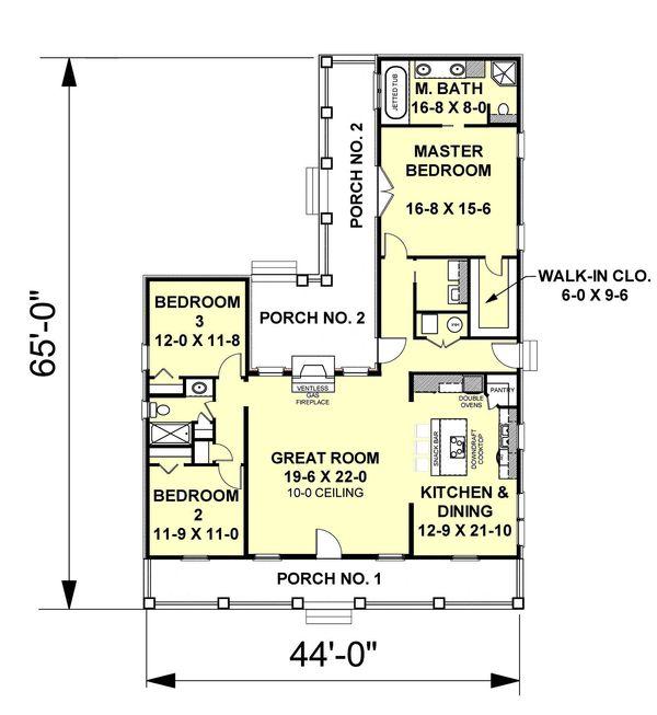 Ranch Floor Plan - Main Floor Plan Plan #44-101