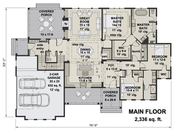 House Plan Design - Farmhouse Floor Plan - Main Floor Plan #51-1157