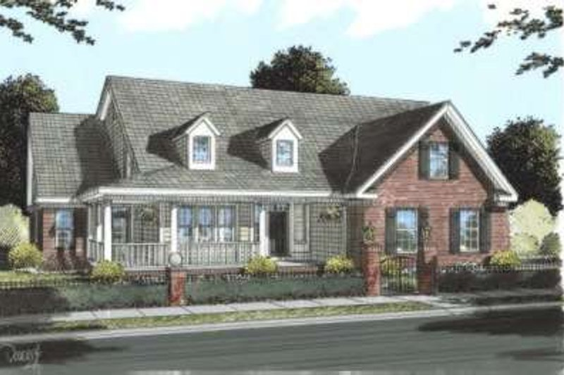 Country Style House Plan - 5 Beds 4.5 Baths 3382 Sq/Ft Plan #20-1661 Exterior - Front Elevation