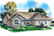 Traditional Style House Plan - 3 Beds 2 Baths 1374 Sq/Ft Plan #18-1032 Exterior - Front Elevation