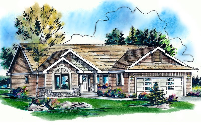 Traditional Style House Plan - 3 Beds 2 Baths 1374 Sq/Ft Plan #18-1032