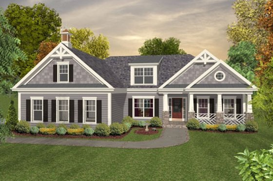 Colonial Exterior - Front Elevation Plan #56-590