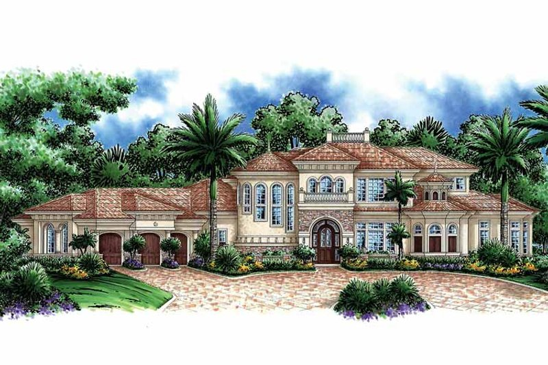 Mediterranean Exterior - Front Elevation Plan #1017-42 - Houseplans.com