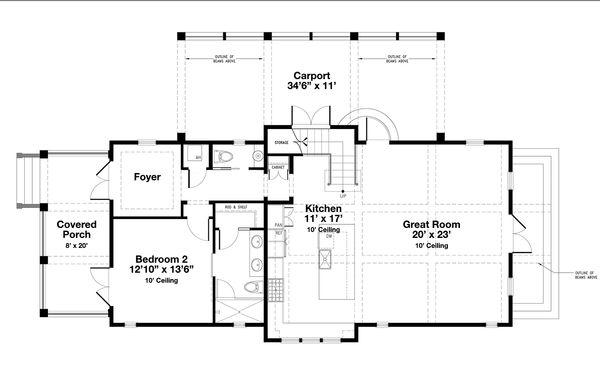 Beach Style House Plan - 4 Beds 4.5 Baths 2493 Sq/Ft Plan #443-17 Floor Plan - Main Floor Plan