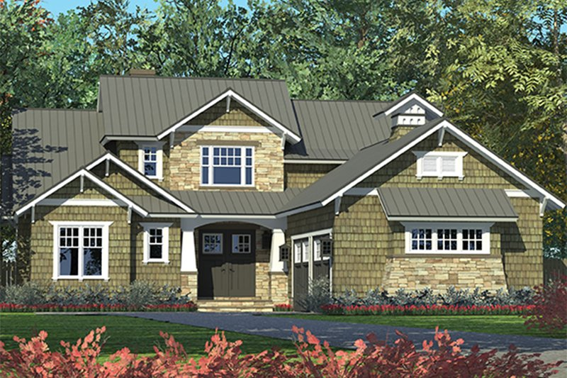 Architectural House Design - Craftsman Exterior - Front Elevation Plan #453-625