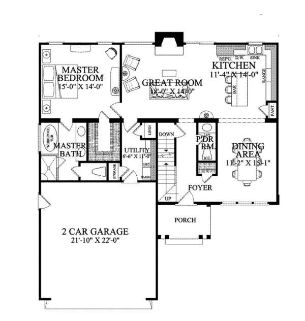 Traditional Floor Plan - Main Floor Plan Plan #137-361