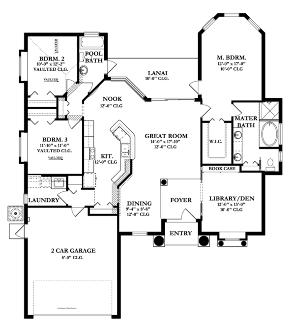 Mediterranean Floor Plan - Main Floor Plan Plan #1058-37