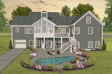 House Plan Design - Country style southern designed home, rear elevation