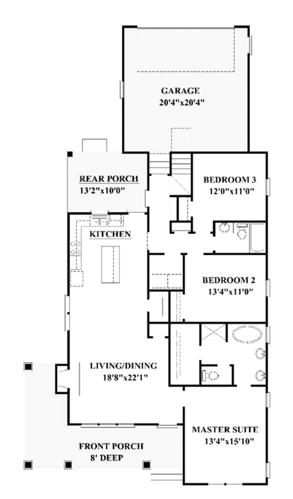 Craftsman Floor Plan - Main Floor Plan Plan #991-29