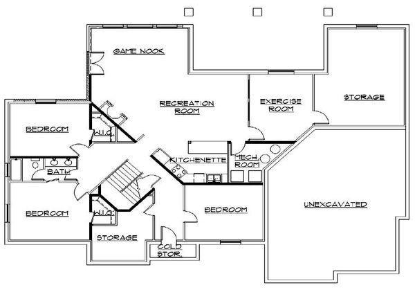 European Floor Plan - Lower Floor Plan Plan #5-312