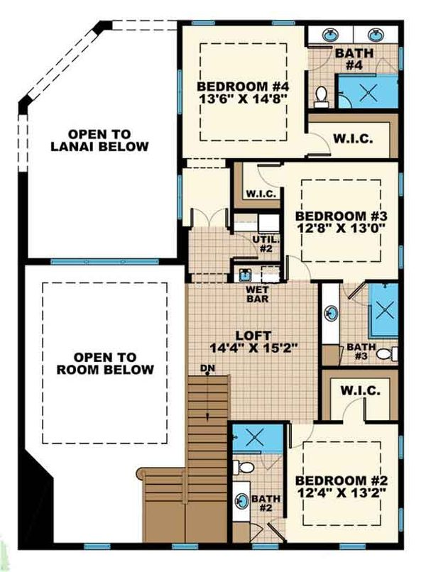 Mediterranean Floor Plan - Upper Floor Plan Plan #1017-159