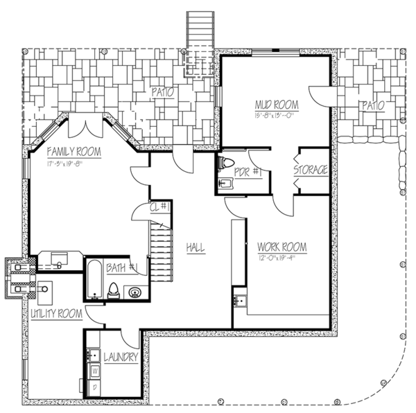 Colonial Floor Plan - Lower Floor Plan Plan #1061-6