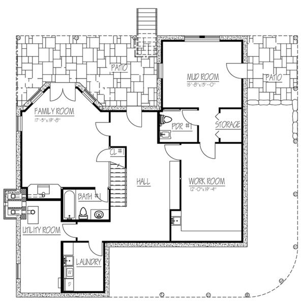 Colonial Floor Plan - Lower Floor Plan Plan #1061-6