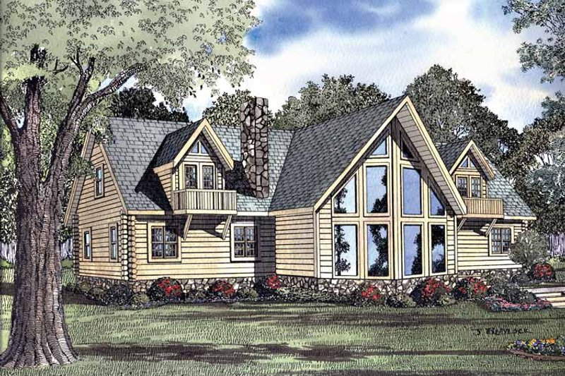 Log Exterior - Front Elevation Plan #17-3077