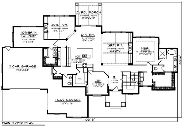 Craftsman Floor Plan - Main Floor Plan Plan #70-1471