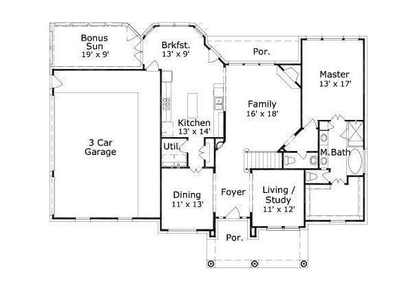 European Floor Plan - Main Floor Plan Plan #411-782