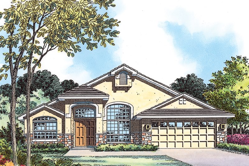 House Plan Design - Mediterranean Exterior - Front Elevation Plan #417-838
