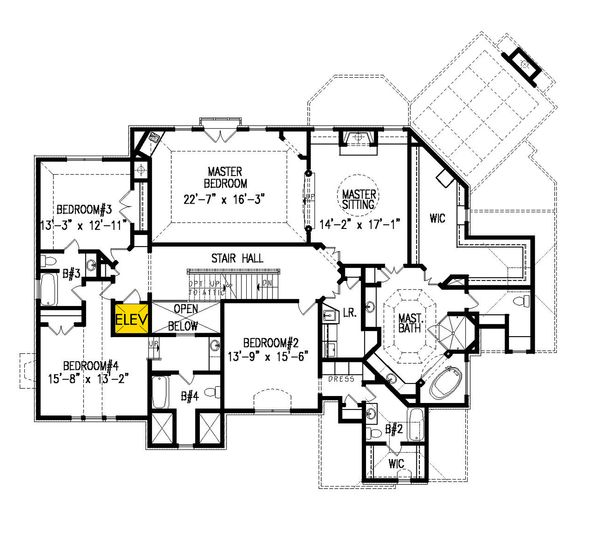 Traditional Floor Plan - Upper Floor Plan #54-413