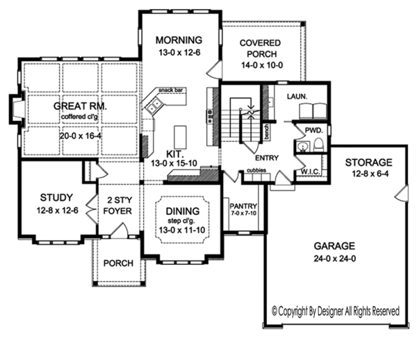 Colonial Floor Plan - Main Floor Plan Plan #1010-169