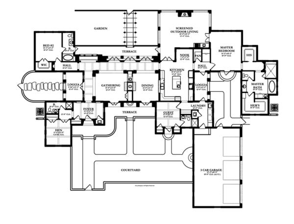 House Plan Design - Mediterranean Floor Plan - Main Floor Plan #1058-18