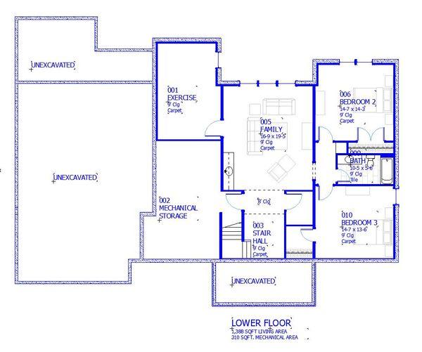 House Plan Design - Cottage Floor Plan - Lower Floor Plan #901-139