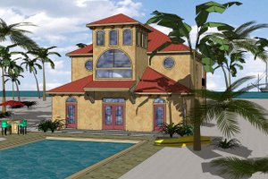 Beach Exterior - Front Elevation Plan #8-311