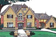 European Style House Plan - 4 Beds 4.5 Baths 4182 Sq/Ft Plan #310-633 Exterior - Front Elevation