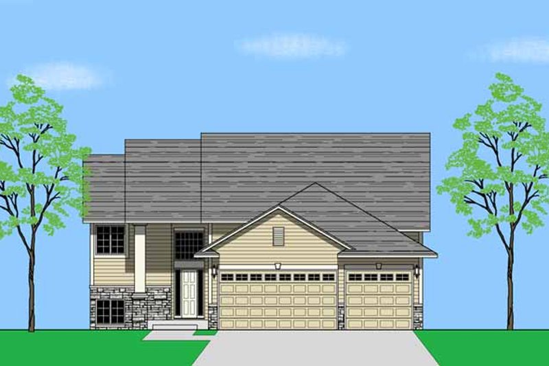 Prairie Exterior - Front Elevation Plan #981-3 - Houseplans.com