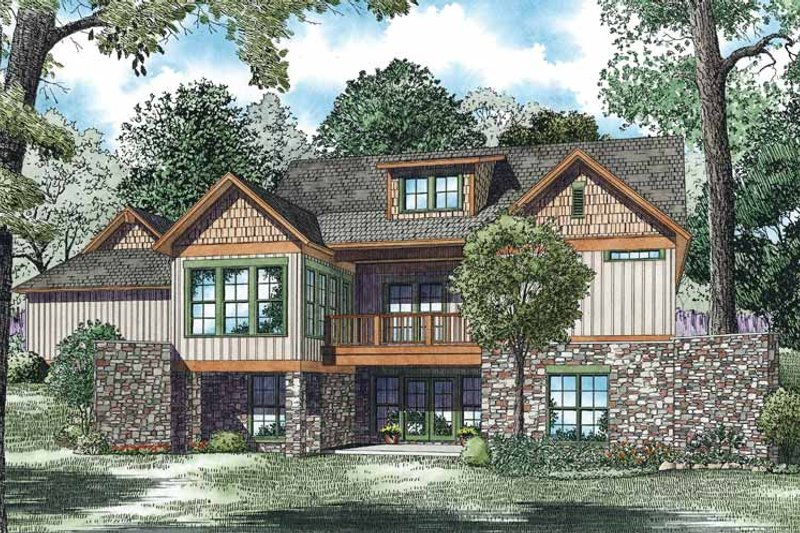 Country Exterior - Rear Elevation Plan #17-3349 - Houseplans.com