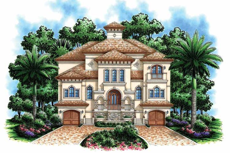 Architectural House Design - Mediterranean Exterior - Front Elevation Plan #1017-110