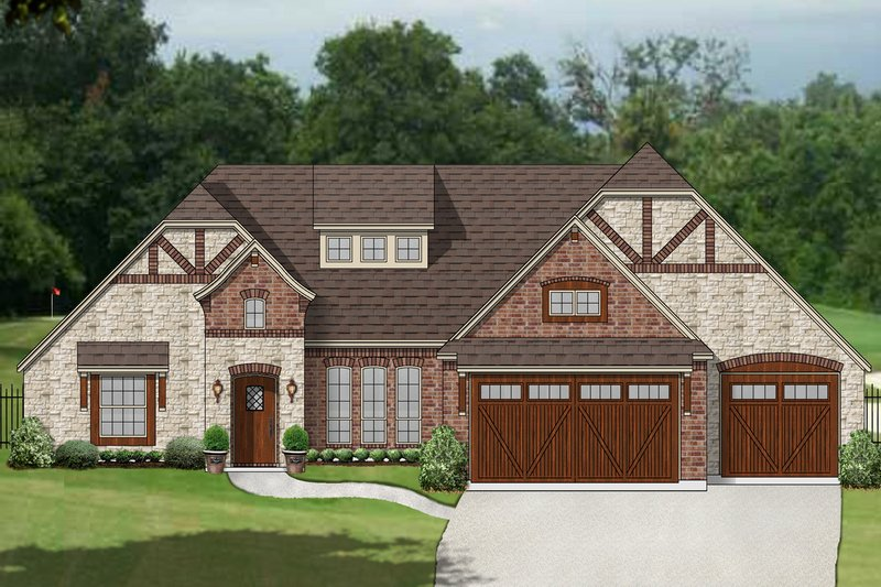 European Exterior - Front Elevation Plan #84-606 - Houseplans.com