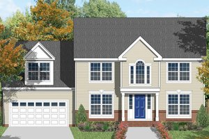 Colonial Exterior - Front Elevation Plan #1053-2