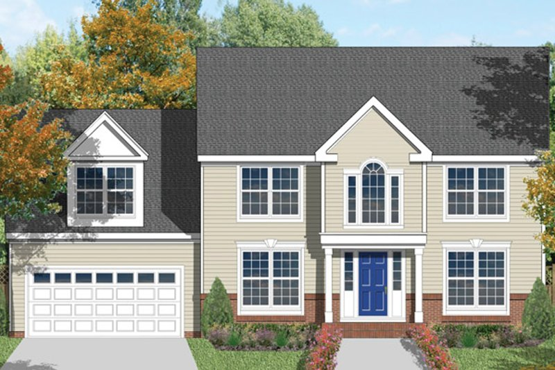 Architectural House Design - Colonial Exterior - Front Elevation Plan #1053-2