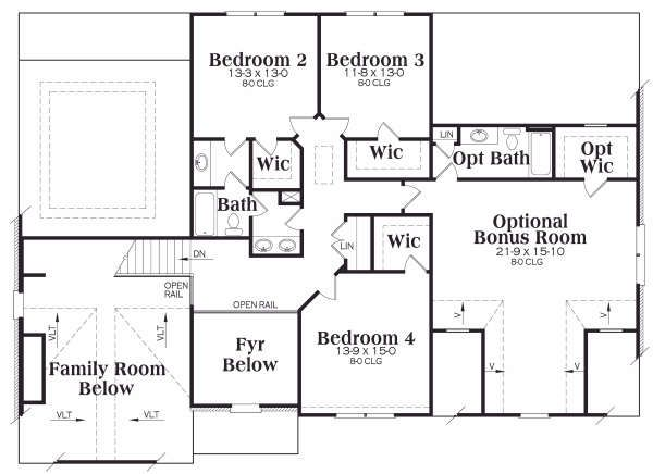 Southern Floor Plan - Upper Floor Plan Plan #419-180