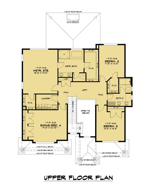 Contemporary Floor Plan - Upper Floor Plan #1066-130