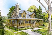Cabin Style House Plan - 3 Beds 2 Baths 1479 Sq/Ft Plan #140-121 Exterior - Front Elevation