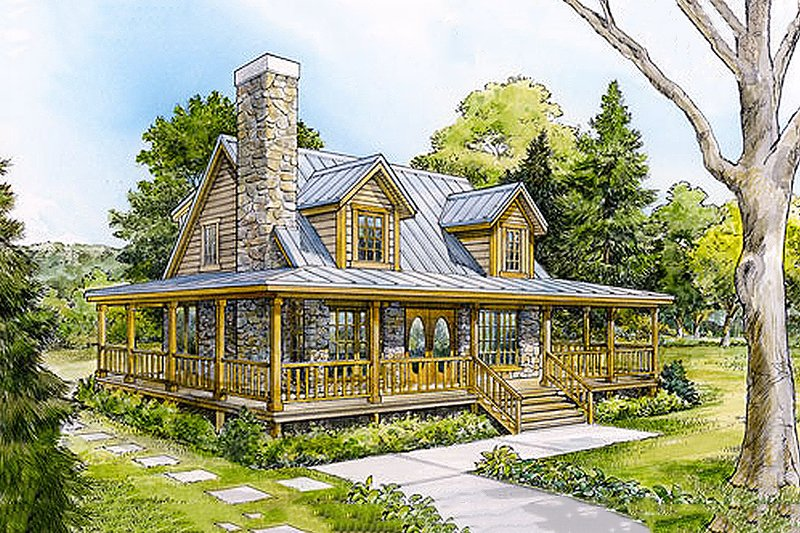 Architectural House Design - Front View -  1500 square foot Country home