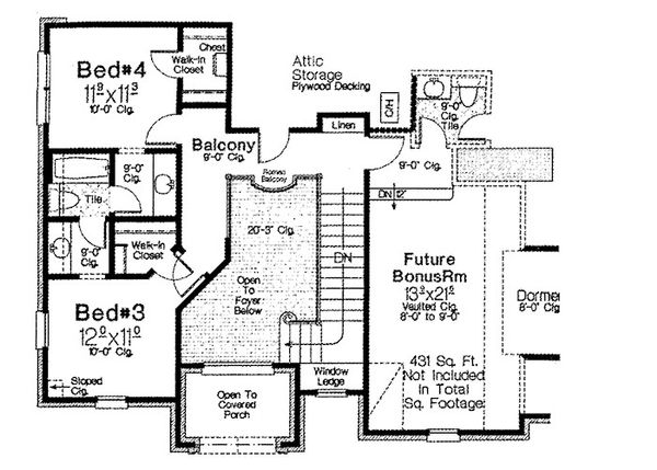 European Floor Plan - Upper Floor Plan Plan #310-698