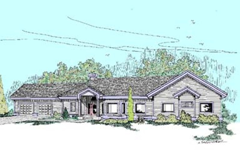 Ranch Exterior - Front Elevation Plan #60-437 - Houseplans.com