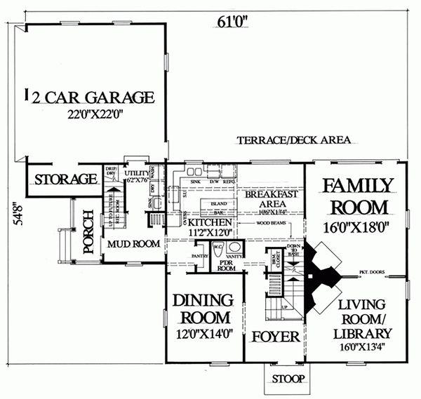 Colonial Floor Plan - Main Floor Plan Plan #137-207