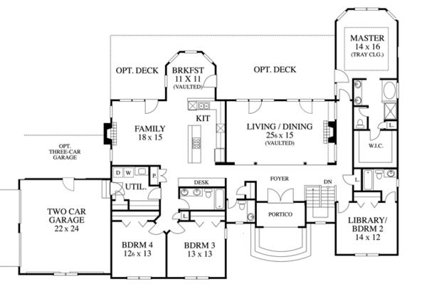 Country Floor Plan - Main Floor Plan Plan #1053-57