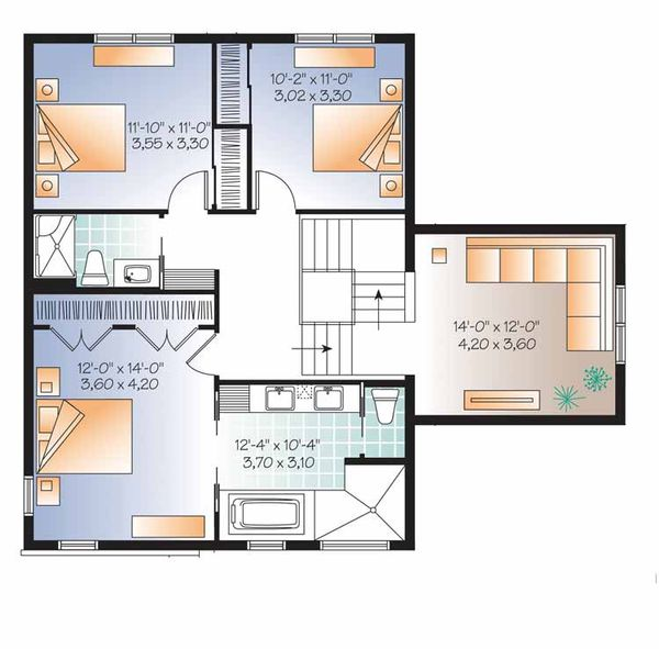Contemporary Floor Plan - Upper Floor Plan Plan #23-2545