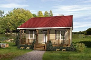 Cottage Exterior - Front Elevation Plan #22-122