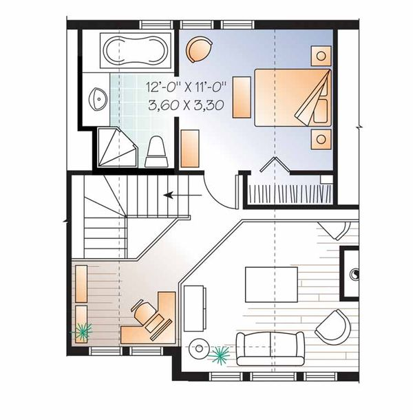 European Floor Plan - Upper Floor Plan Plan #23-2490