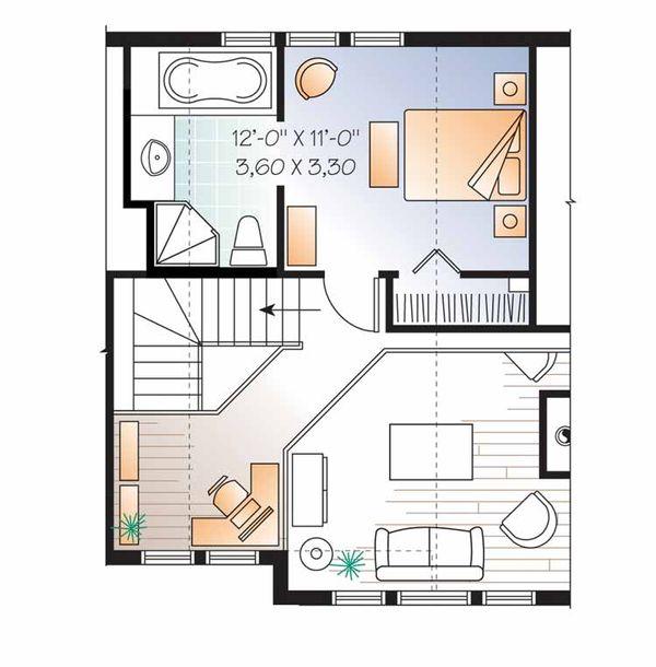 European Floor Plan - Upper Floor Plan Plan #23-2490