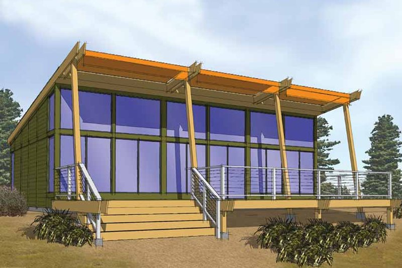 Dream House Plan - Contemporary Exterior - Front Elevation Plan #569-1