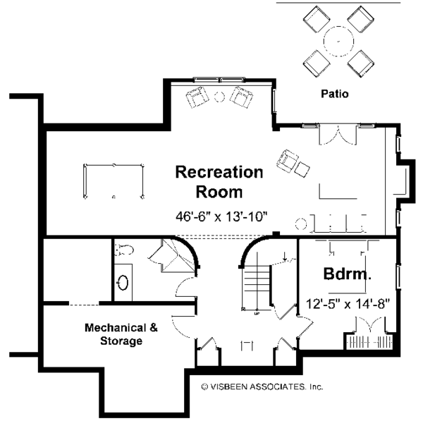 Traditional Floor Plan - Lower Floor Plan Plan #928-46