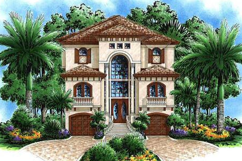 Mediterranean Style House Plan - 4 Beds 3 Baths 3763 Sq/Ft Plan #27-218 Exterior - Front Elevation