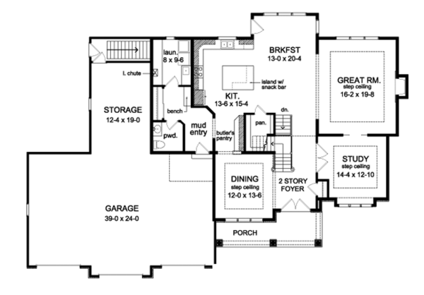 Traditional Floor Plan - Main Floor Plan Plan #1010-96