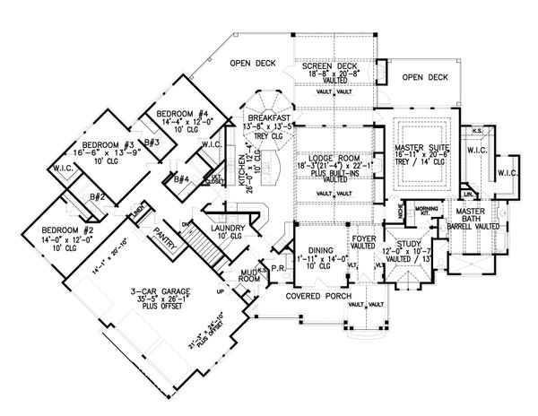 House Plan Design - Craftsman Floor Plan - Main Floor Plan #54-386